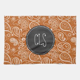 Vintage Chalkboard Burnt Orange Paisley; Floral Kitchen Towels