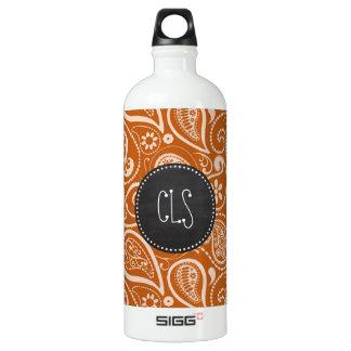 Vintage Chalkboard Burnt Orange Paisley; Floral SIGG Traveler 1.0L Water Bottle