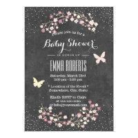 Vintage Chalkboard Butterfly & Flowers Baby Shower Card