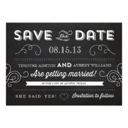 Vintage Chalkboard by Origami Prints Save the Date Invitation