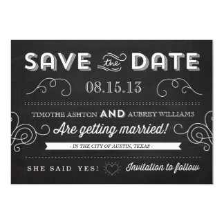 "Vintage Chalkboard by Origami Prints Save the Date 5"" X 7"" Invitation Card"