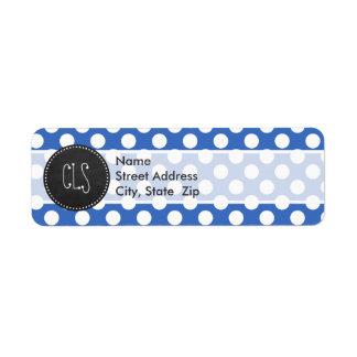 Vintage Chalkboard; Cerulean Blue Polka Dots Label