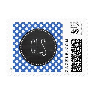 Vintage Chalkboard; Cerulean Blue Polka Dots Postage Stamp