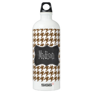 Vintage Chalkboard; Chocolate Brown Houndstooth Aluminum Water Bottle