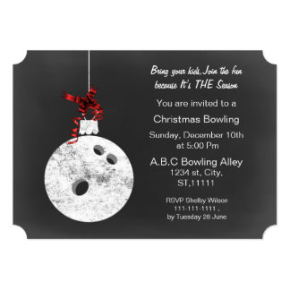 Vintage Chalkboard Christmas Bowling Invitations