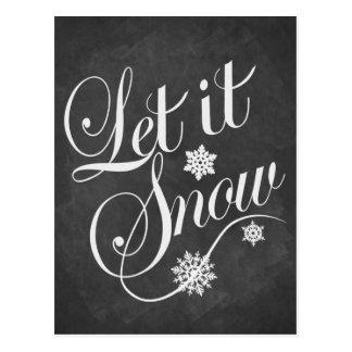 Vintage chalkboard Christmas card Let It Snow