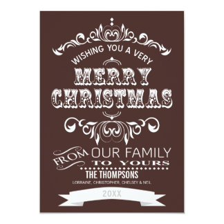 Vintage Chalkboard Christmas Greeting Card-cocoa Custom Invite