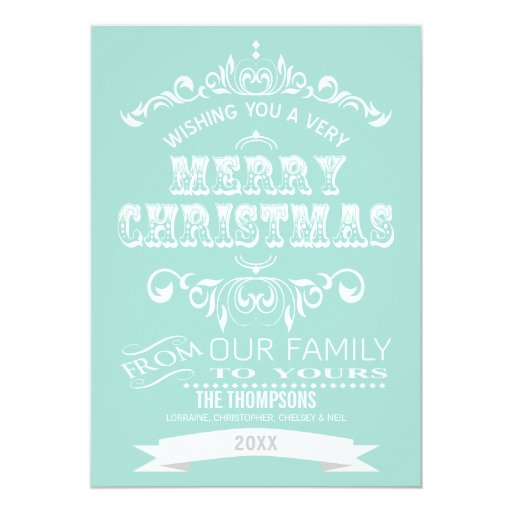 Vintage Chalkboard Christmas Greeting Card-iced 5x7 Paper Invitation Card