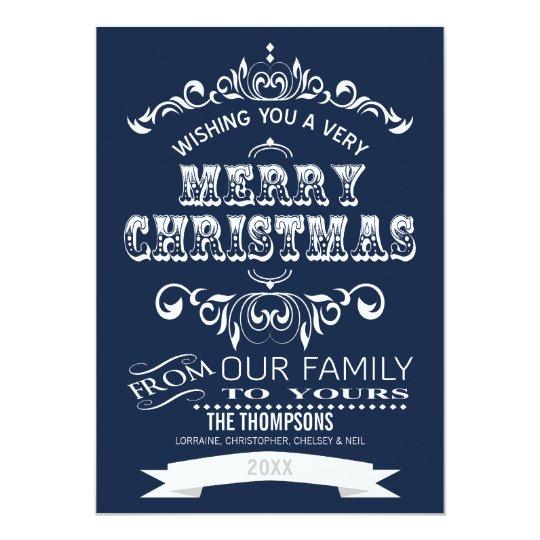 Vintage Chalkboard Christmas Greeting Card-indigo Card