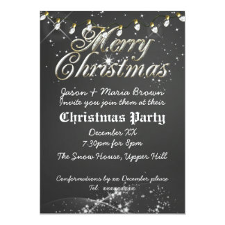 Vintage Chalkboard Christmas Party Card