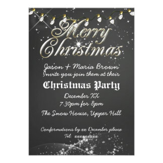 Vintage Chalkboard Christmas Party Invitations