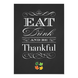 Vintage Chalkboard Classic Thanksgiving Dinner Card