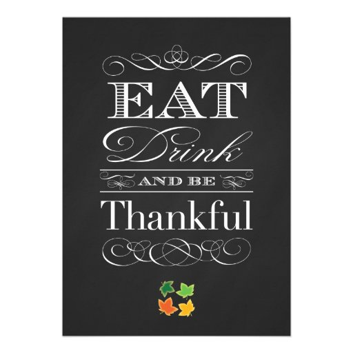 Vintage Chalkboard Classic Thanksgiving Dinner Personalized Invites