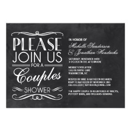 Vintage Chalkboard Couples Shower Cards