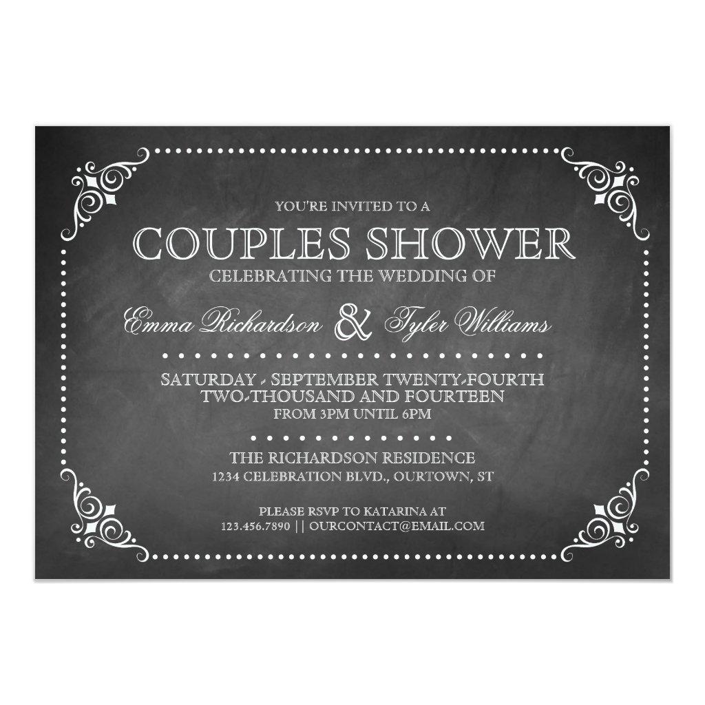 Vintage Chalkboard Couples Shower Invitation