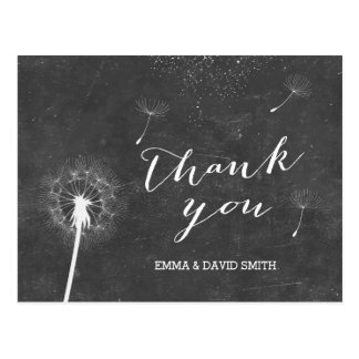 Vintage Chalkboard Dandelion Blowing Thank You Postcard