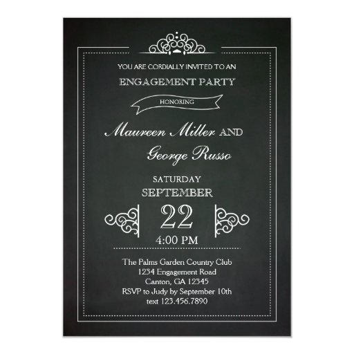 "Vintage Chalkboard Engagement Party Invitation 5"" X 7"" Invitation Card"