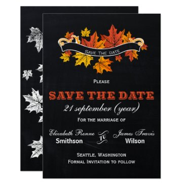 Vintage Chalkboard fall save the date Card
