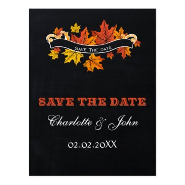 Vintage Chalkboard fall save the Date Postcard