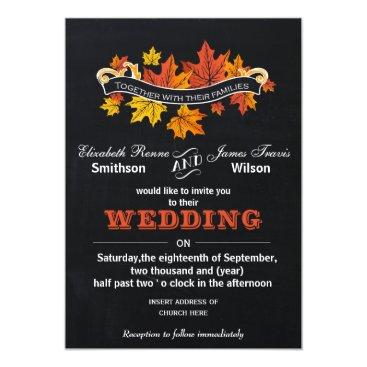 Vintage Chalkboard Fall wedding invite