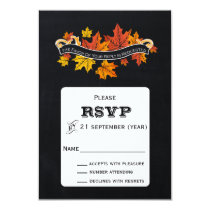 Vintage Chalkboard fall wedding  rsvp 3.5 x 5 Card