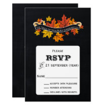 Vintage Chalkboard fall wedding rsvp Card