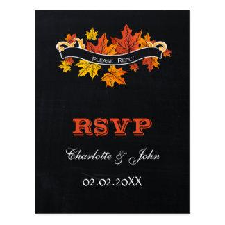 Vintage Chalkboard fall wedding rsvp Postcard