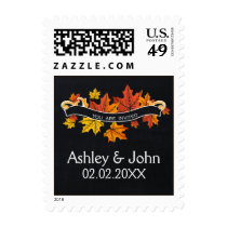 Vintage Chalkboard fall wedding stamps