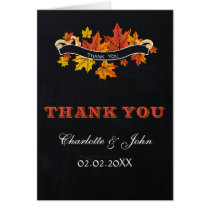 Vintage Chalkboard fall wedding Thank You Card
