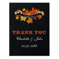 Vintage Chalkboard fall wedding Thank You Postcard