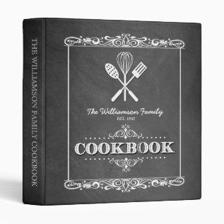 Vintage Chalkboard Family Cookbook Binder at Zazzle