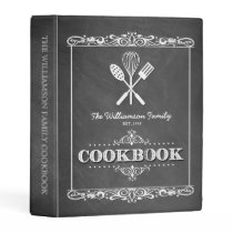 Vintage Chalkboard Family Cookbook Mini Binder