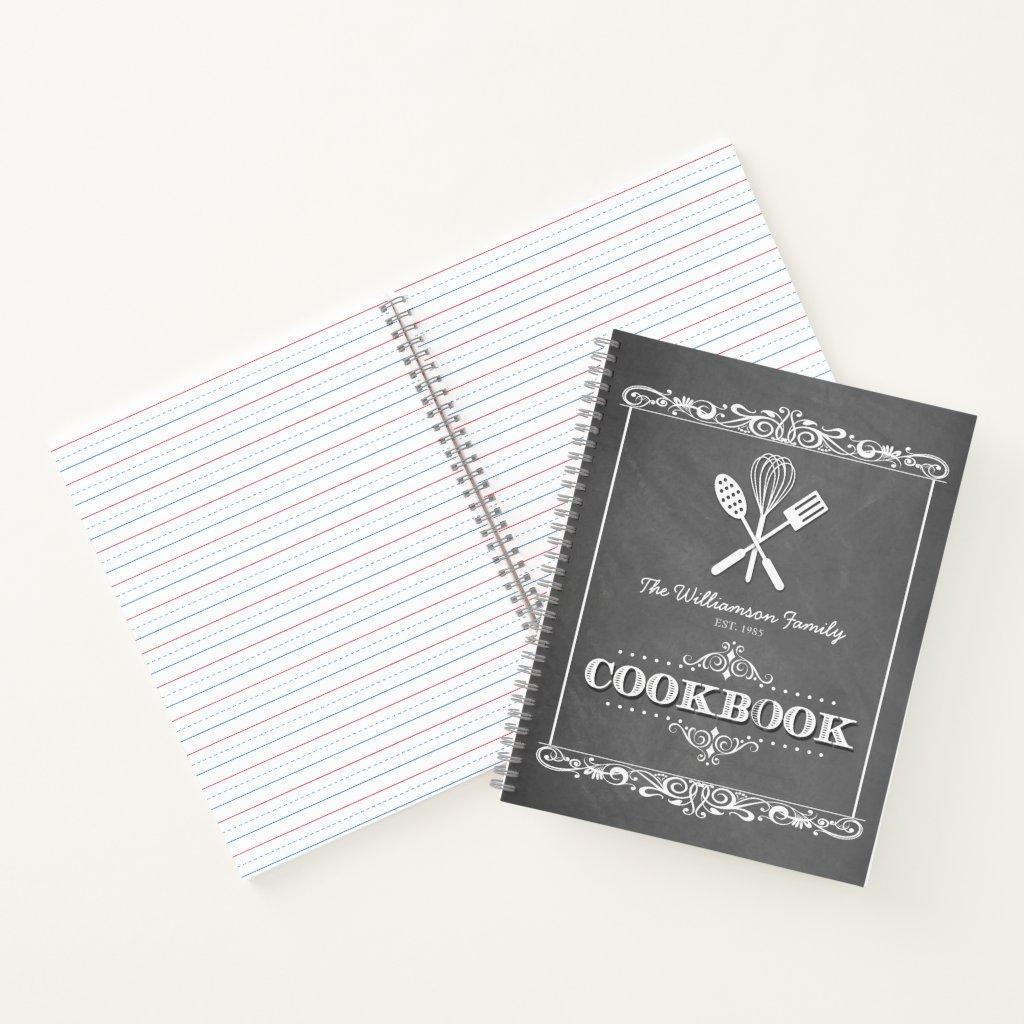Vintage Chalkboard Family Cookbook Recipe Notebook