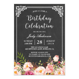 Vintage Chalkboard Floral Birthday Celebration Card