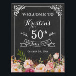 "Vintage Chalkboard Floral Birthday Party Sign<br><div class=""desc"">================= ABOUT THIS DESIGN ================= Vintage Chalkboard Floral Birthday Party Sign Poster Template. (1) The default size is 8.5 x 11 inches, you can change it to any size. (2) For further customization, please click the &quot;Customize it&quot; button and use our design tool to modify this template. All text style,...</div>"