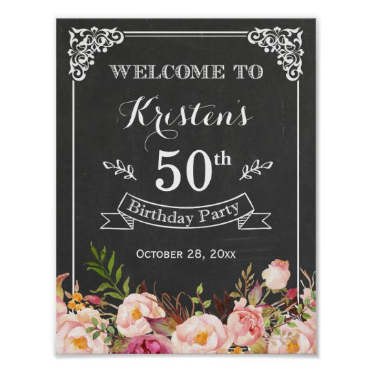 Vintage Chalkboard Floral Birthday Party Sign