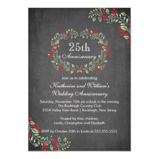 Vintage Chalkboard Floral Frame Anniversary Party 5x7 Paper Invitation Card