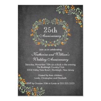 Vintage Chalkboard Floral Frame Anniversary Party Card