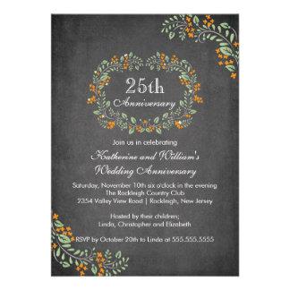 Vintage Chalkboard Floral Frame Anniversary Party Invitation
