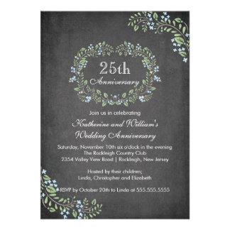 Vintage Chalkboard Floral Frame Anniversary Party Invites