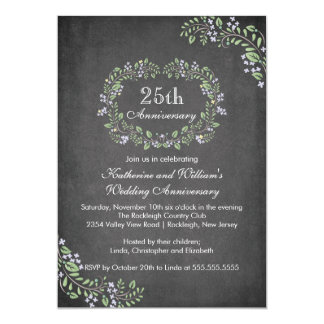 Vintage Chalkboard Floral Frame Anniversary Party Announcement
