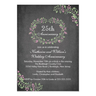 Vintage Chalkboard Floral Frame Anniversary Party Announcements