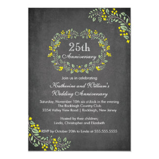 Vintage Chalkboard Floral Frame Anniversary Party Invitations
