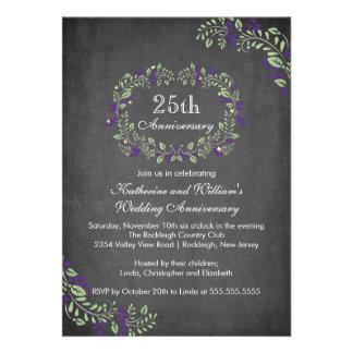 Vintage Chalkboard Floral Frame Anniversary Party Custom Invites