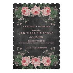 Vintage Chalkboard Floral Rose Bridal Shower 5x7 Paper Invitation Card
