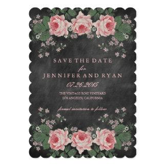 Vintage Chalkboard Floral Rose Save the Date Card