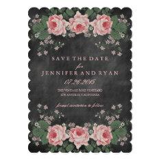 Vintage Chalkboard Floral Rose Save the Date 5x7 Paper Invitation Card