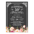 Vintage Chalkboard Floral Surprise Birthday Party Card