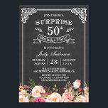 """Vintage Chalkboard Floral Surprise Birthday Party Card<br><div class=""""desc"""">================= ABOUT THIS DESIGN ================= Vintage Chalkboard Floral Surprise Birthday Party Invitations. (1) For further customization, please click the &quot;Customize it&quot; button and use our design tool to modify this template. All text style, colors, sizes can be modified to fit your needs. (2) If you need help or matching items,...</div>"""