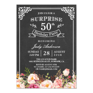 Vintage Chalkboard Floral Surprise Birthday Party Card at Zazzle